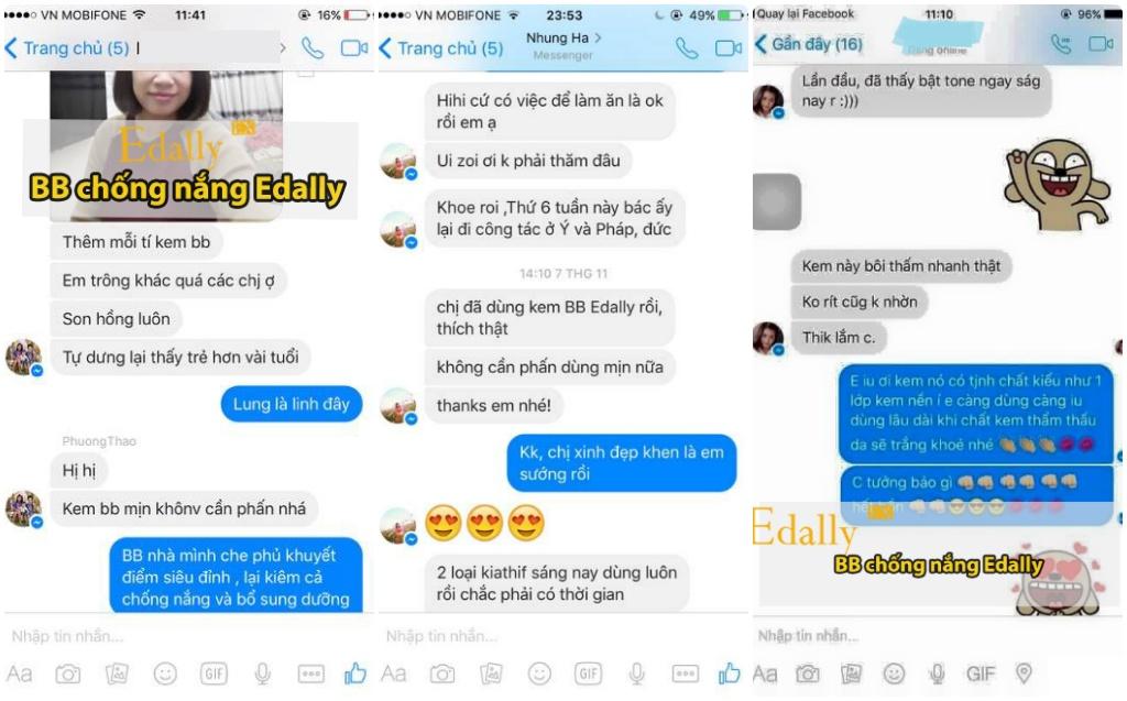 Phản hồi về kem nền BB Edally Ex